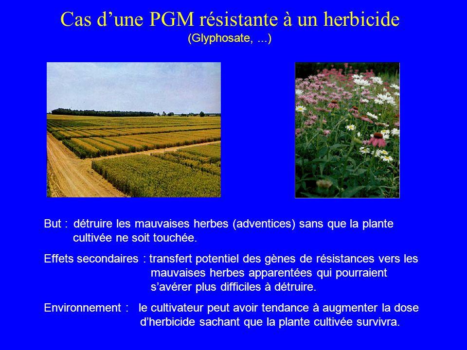 Cas dune PGM résistante à un herbicide (Glyphosate,...) But : détruire les mauvaises herbes (adventices) sans que la plante cultivée ne soit touchée.