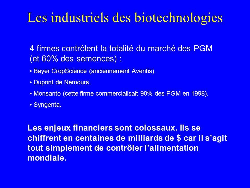 Les industriels des biotechnologies 4 firmes contrôlent la totalité du marché des PGM (et 60% des semences) : Bayer CropScience (anciennement Aventis).