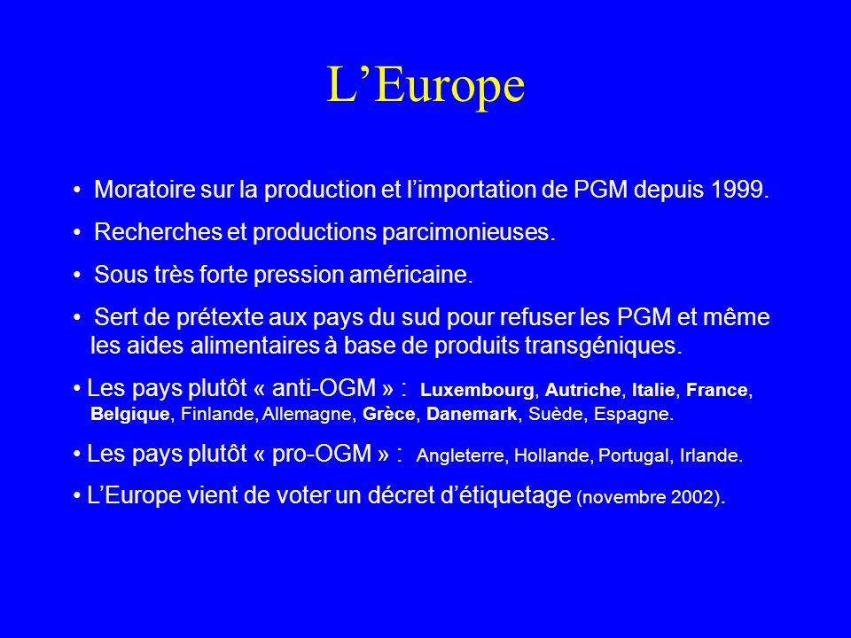 LEurope Moratoire sur la production et limportation de PGM depuis 1999.