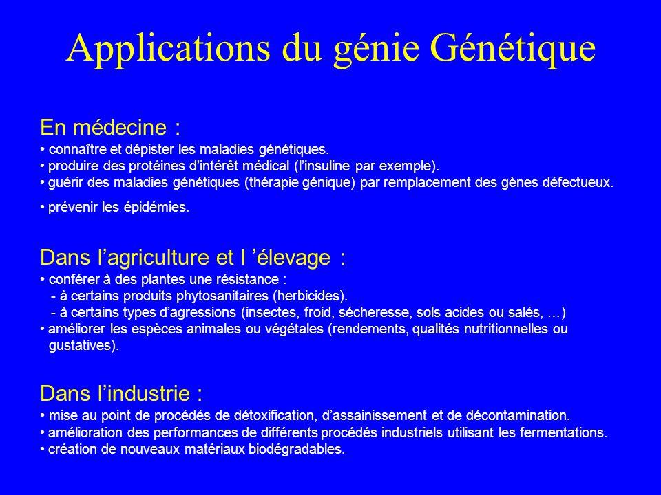 Applications du génie Génétique En médecine : connaître et dépister les maladies génétiques.