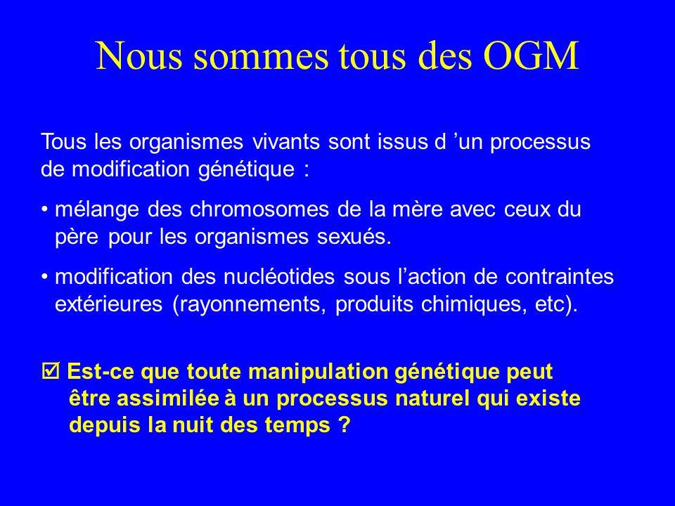 Nous sommes tous des OGM Tous les organismes vivants sont issus d un processus de modification génétique : mélange des chromosomes de la mère avec ceux du père pour les organismes sexués.