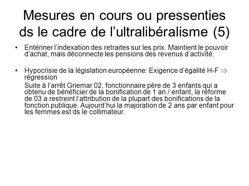 Mesures en cours ou pressenties ds le cadre de lultralibéralisme (5) Entériner lindexation des retraites sur les prix.