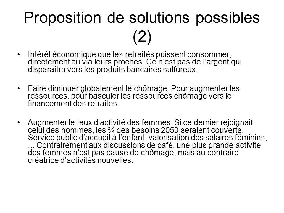 Proposition de solutions possibles (2) Intérêt économique que les retraités puissent consommer, directement ou via leurs proches.