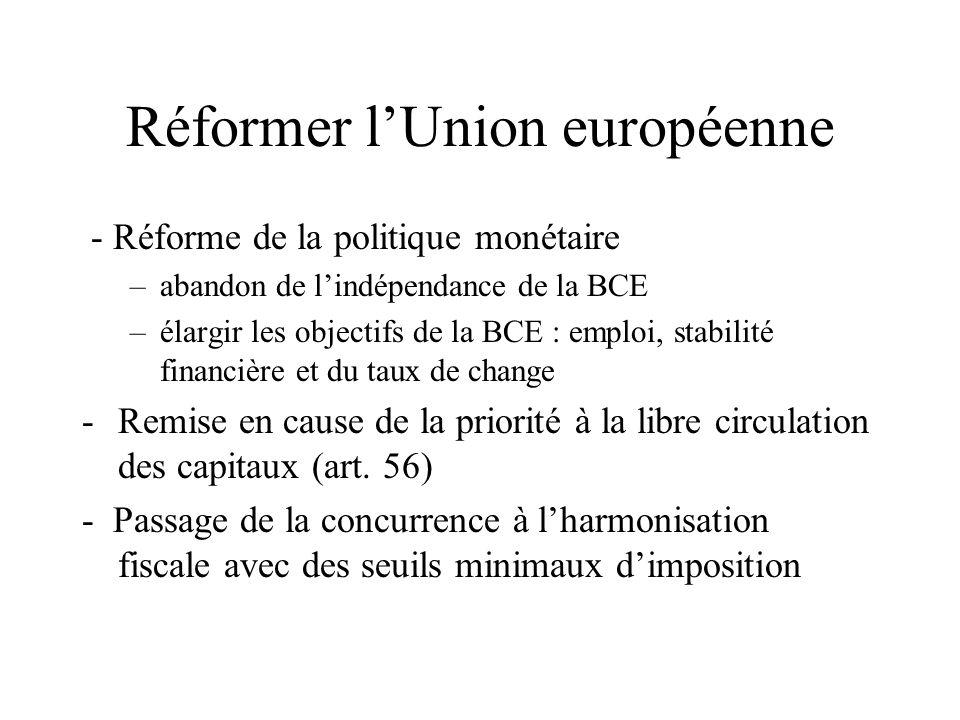 Réformer lUnion européenne - Réforme de la politique monétaire –abandon de lindépendance de la BCE –élargir les objectifs de la BCE : emploi, stabilit