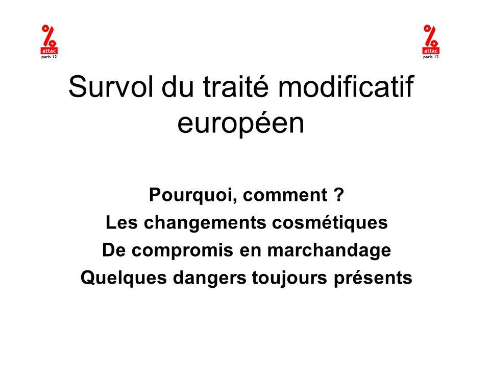 Survol du traité modificatif européen Pourquoi, comment .