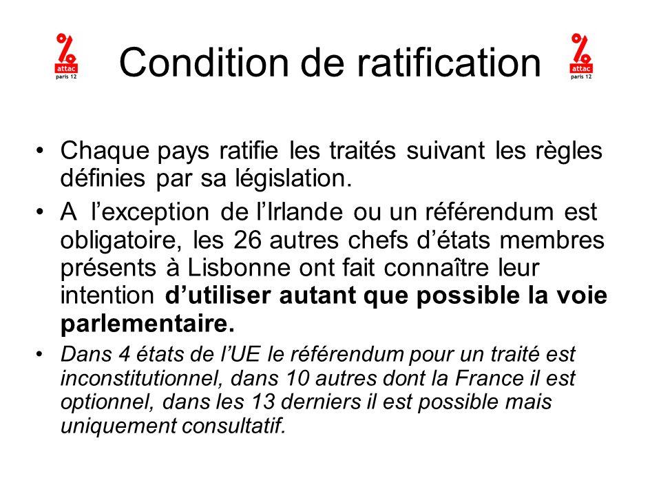 Condition de ratification Chaque pays ratifie les traités suivant les règles définies par sa législation.