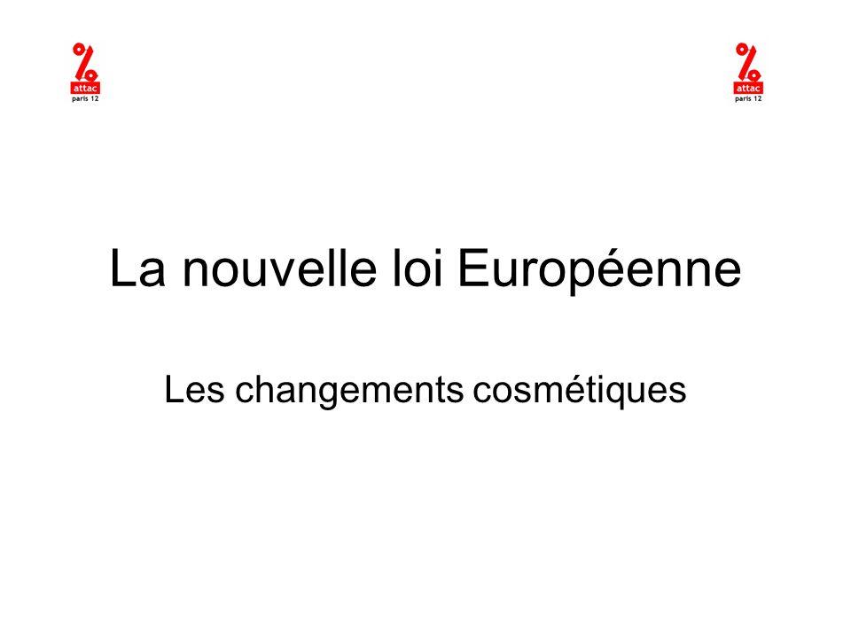 La nouvelle loi Européenne Les changements cosmétiques
