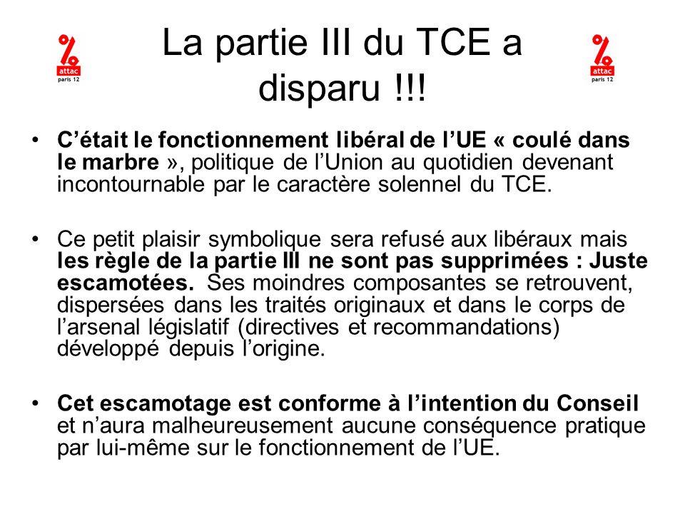 La partie III du TCE a disparu !!.