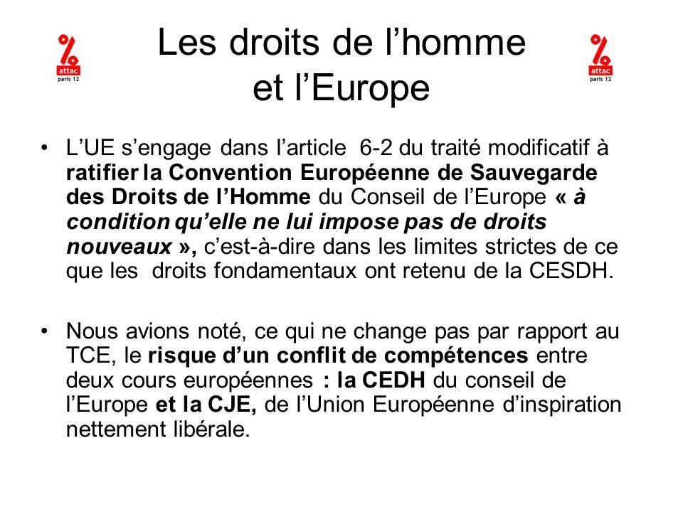 Les droits de lhomme et lEurope LUE sengage dans larticle 6-2 du traité modificatif à ratifier la Convention Européenne de Sauvegarde des Droits de lHomme du Conseil de lEurope « à condition quelle ne lui impose pas de droits nouveaux », cest-à-dire dans les limites strictes de ce que les droits fondamentaux ont retenu de la CESDH.