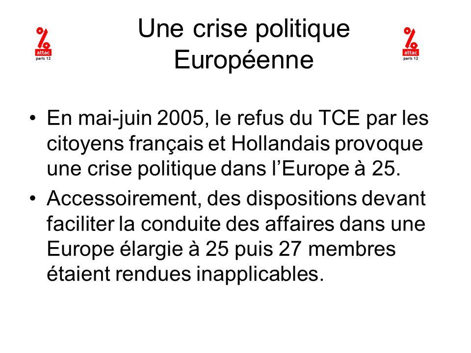 Une crise politique Européenne En mai-juin 2005, le refus du TCE par les citoyens français et Hollandais provoque une crise politique dans lEurope à 25.