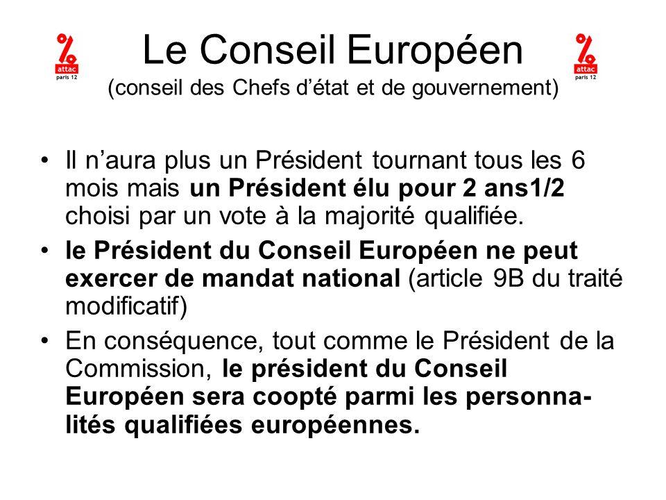 Le Conseil Européen (conseil des Chefs détat et de gouvernement) Il naura plus un Président tournant tous les 6 mois mais un Président élu pour 2 ans1/2 choisi par un vote à la majorité qualifiée.