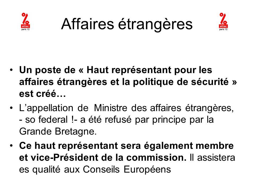 Affaires étrangères Un poste de « Haut représentant pour les affaires étrangères et la politique de sécurité » est créé… Lappellation de Ministre des affaires étrangères, - so federal !- a été refusé par principe par la Grande Bretagne.