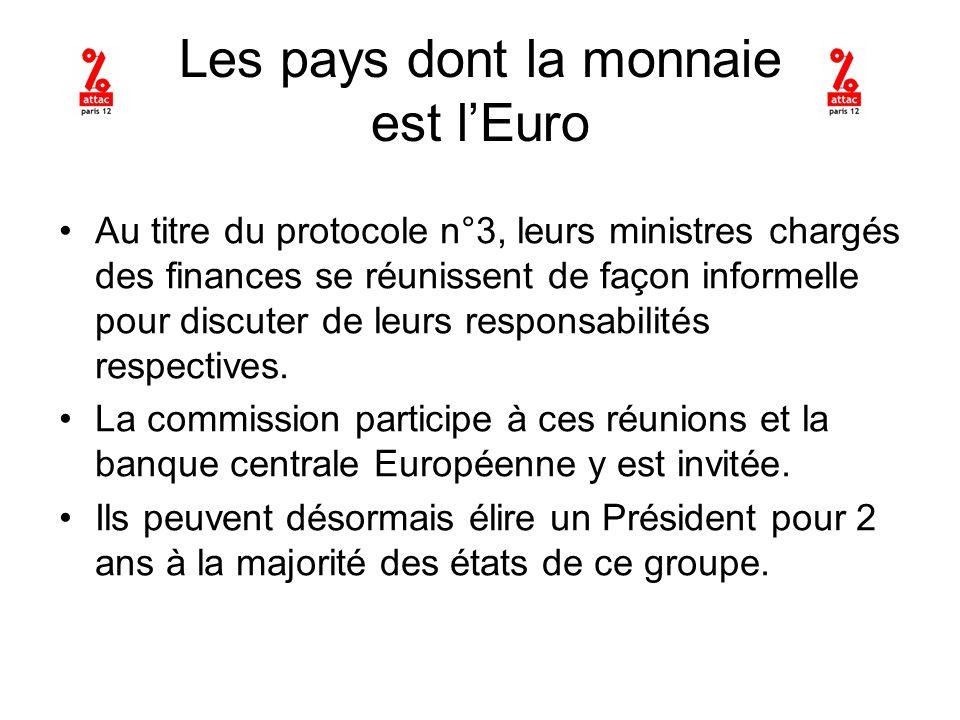 Les pays dont la monnaie est lEuro Au titre du protocole n°3, leurs ministres chargés des finances se réunissent de façon informelle pour discuter de leurs responsabilités respectives.