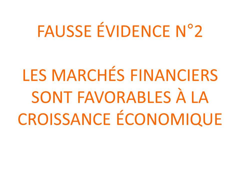 FAUSSE ÉVIDENCE N°2 LES MARCHÉS FINANCIERS SONT FAVORABLES À LA CROISSANCE ÉCONOMIQUE