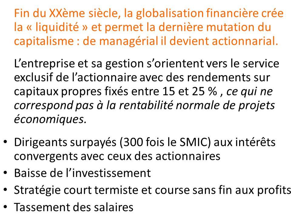 Fin du XXème siècle, la globalisation financière crée la « liquidité » et permet la dernière mutation du capitalisme : de managérial il devient actionnarial.