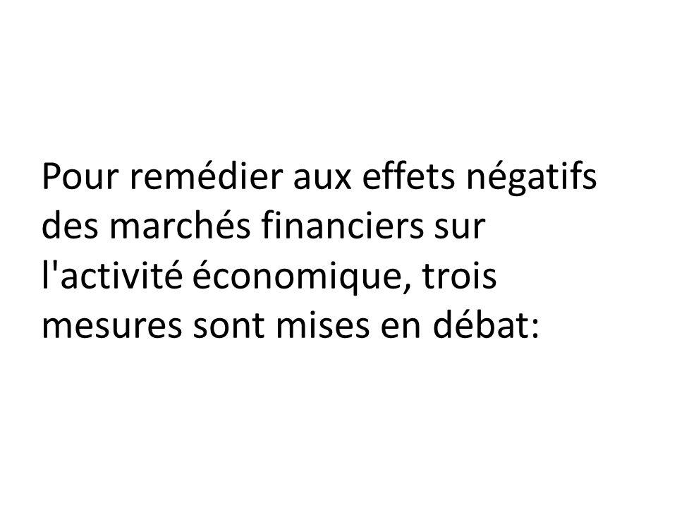 Pour remédier aux effets négatifs des marchés financiers sur l activité économique, trois mesures sont mises en débat: