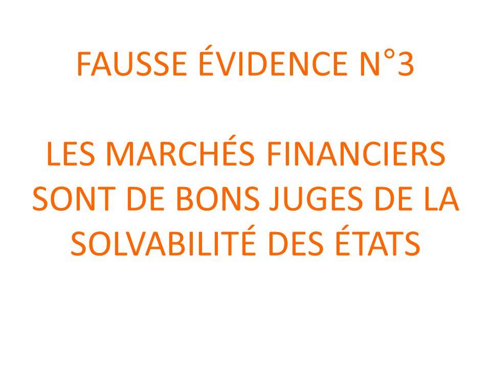 FAUSSE ÉVIDENCE N°3 LES MARCHÉS FINANCIERS SONT DE BONS JUGES DE LA SOLVABILITÉ DES ÉTATS