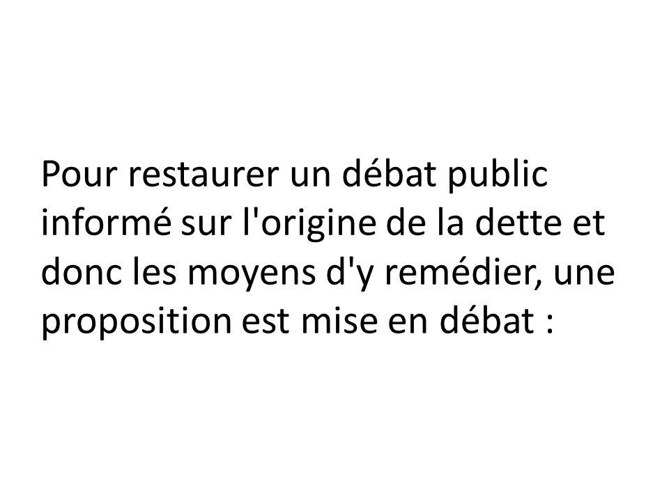 Pour restaurer un débat public informé sur l origine de la dette et donc les moyens d y remédier, une proposition est mise en débat :