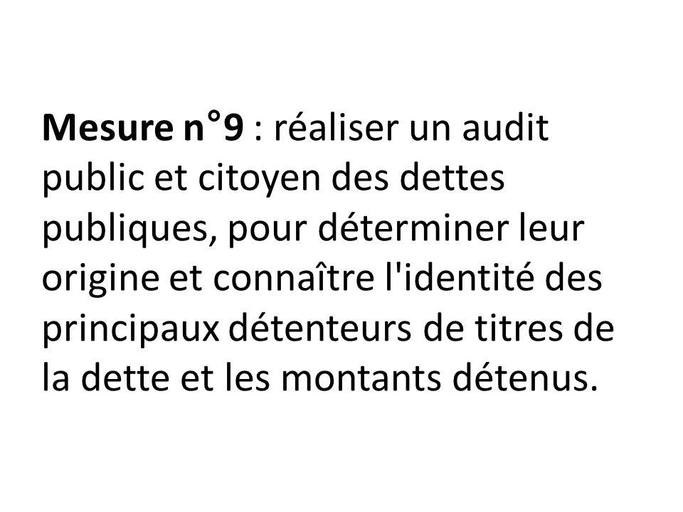Mesure n°9 : réaliser un audit public et citoyen des dettes publiques, pour déterminer leur origine et connaître l identité des principaux détenteurs de titres de la dette et les montants détenus.