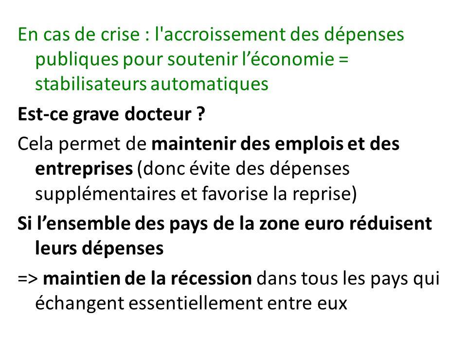 En cas de crise : l accroissement des dépenses publiques pour soutenir léconomie = stabilisateurs automatiques Est-ce grave docteur .