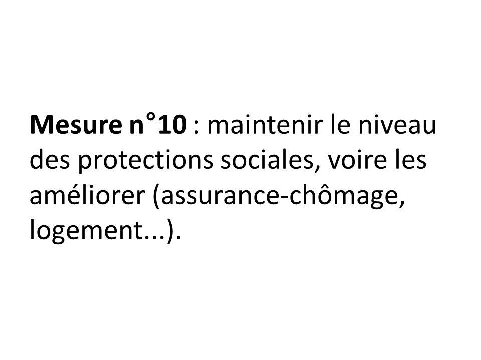 Mesure n°10 : maintenir le niveau des protections sociales, voire les améliorer (assurance-chômage, logement...).