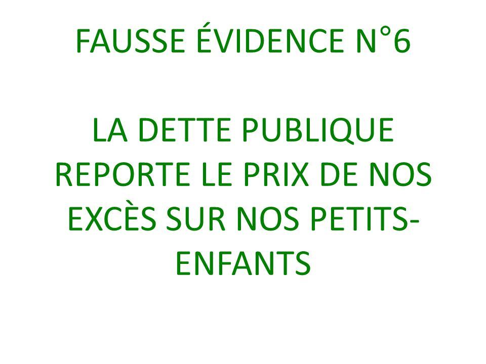 FAUSSE ÉVIDENCE N°6 LA DETTE PUBLIQUE REPORTE LE PRIX DE NOS EXCÈS SUR NOS PETITS- ENFANTS
