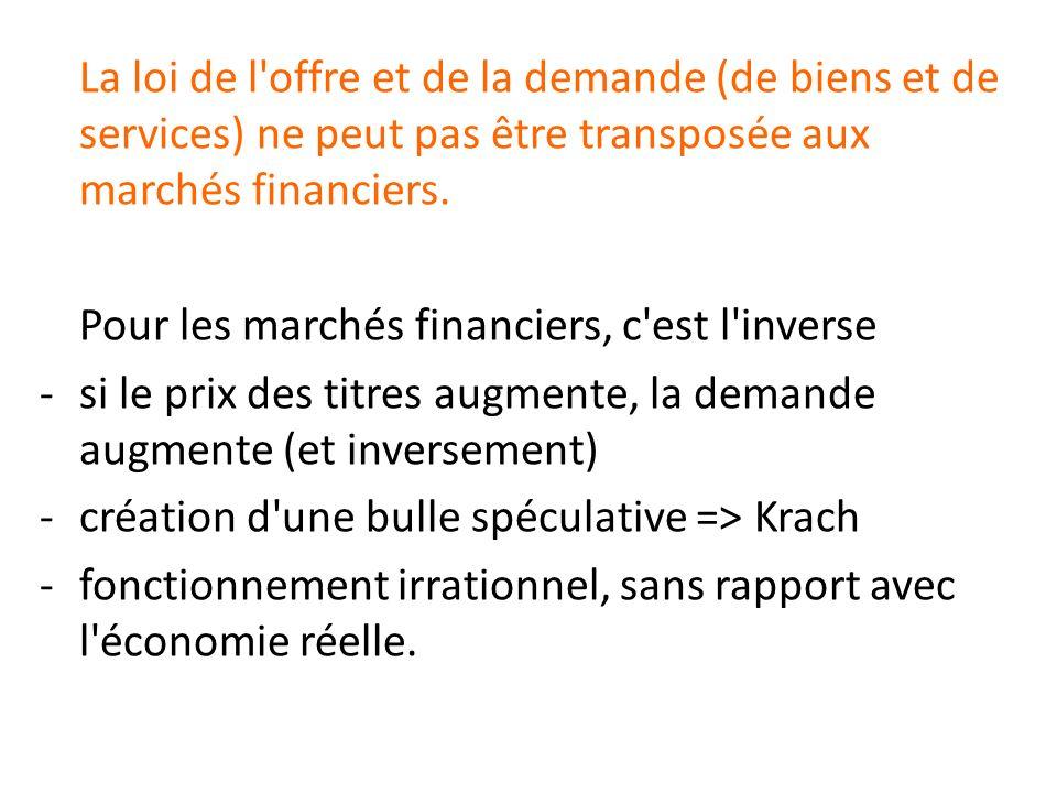 La loi de l offre et de la demande (de biens et de services) ne peut pas être transposée aux marchés financiers.
