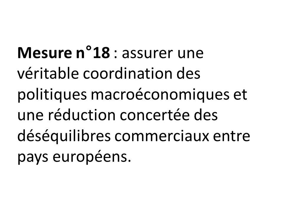 Mesure n°18 : assurer une véritable coordination des politiques macroéconomiques et une réduction concertée des déséquilibres commerciaux entre pays européens.
