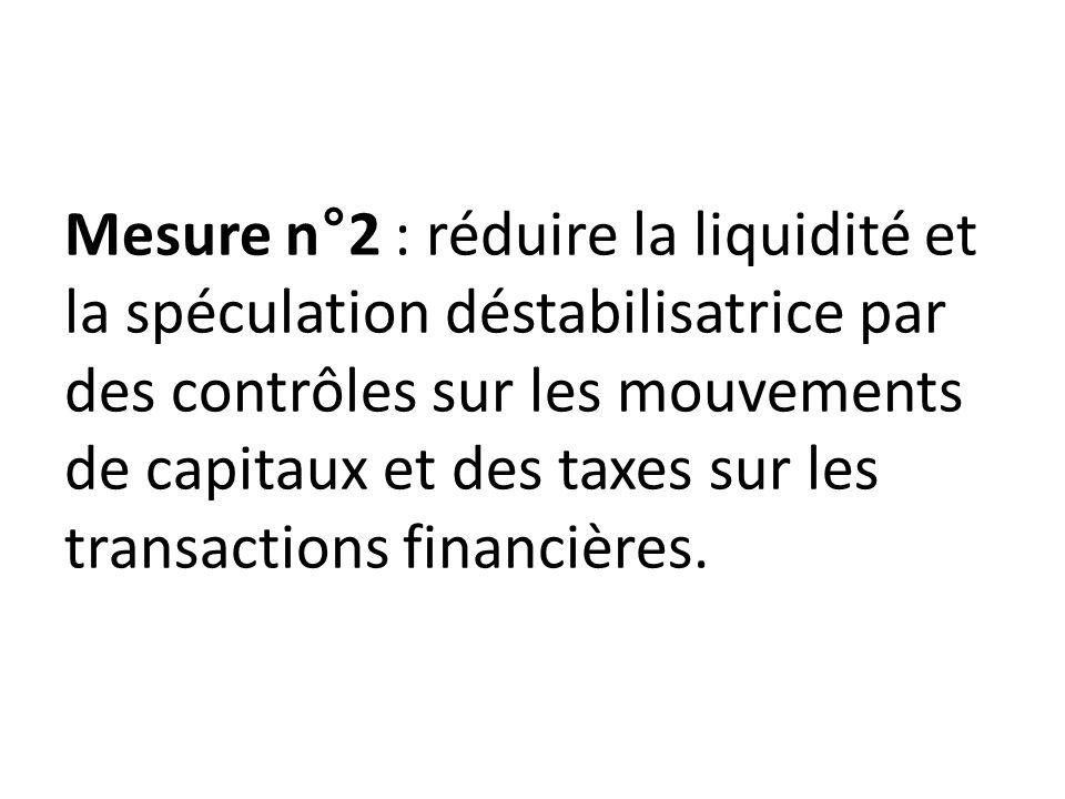 Mesure n°3 : limiter les transactions financières à celles correspondant aux besoins de l économie réelle par exemple : CDS uniquement pour les détenteurs des titres assurés, etc....