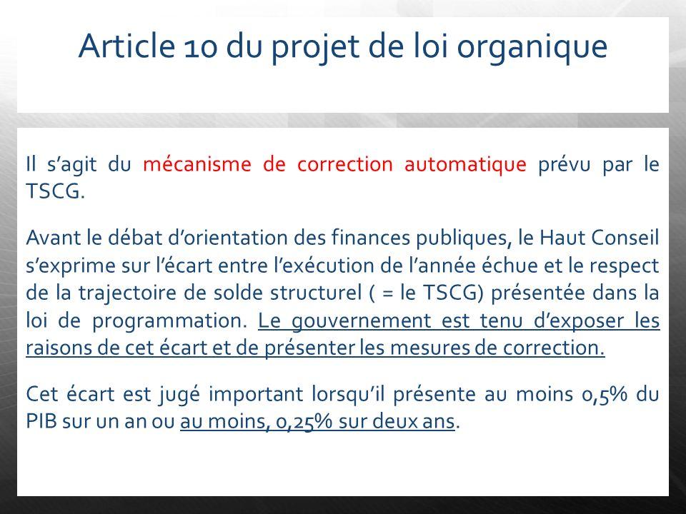 Article 10 du projet de loi organique Il sagit du mécanisme de correction automatique prévu par le TSCG. Avant le débat dorientation des finances publ