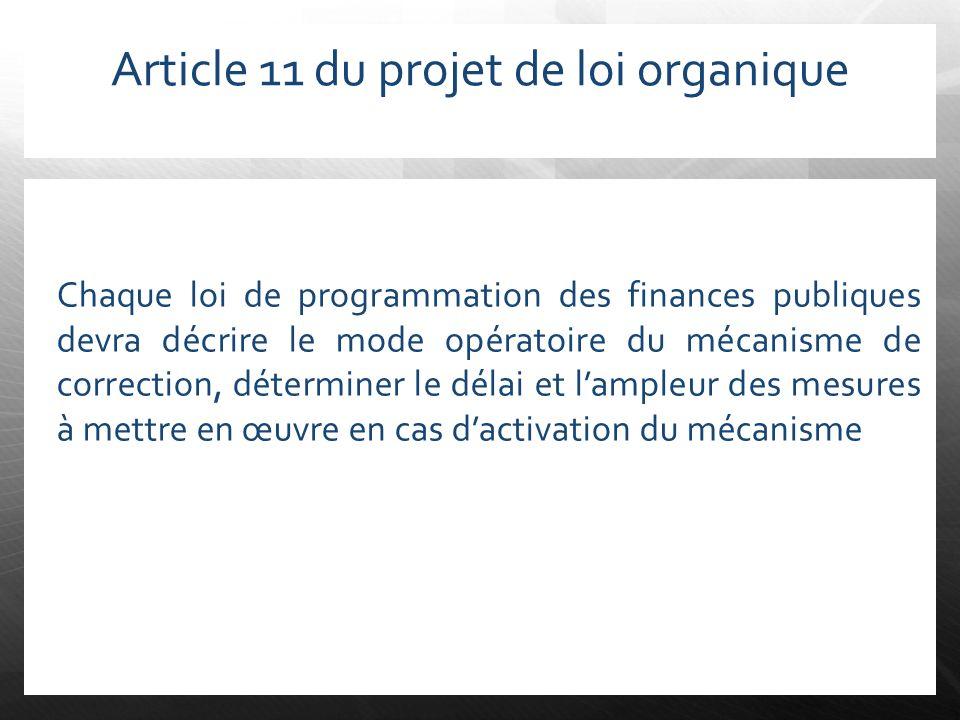 Article 11 du projet de loi organique Chaque loi de programmation des finances publiques devra décrire le mode opératoire du mécanisme de correction,