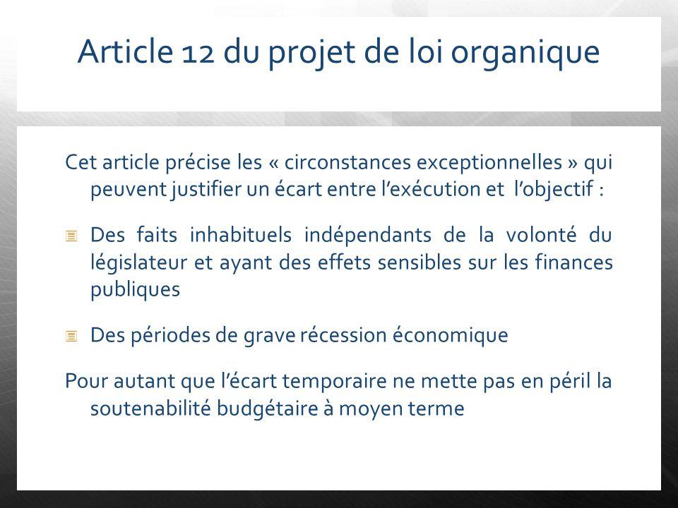 Article 12 du projet de loi organique Cet article précise les « circonstances exceptionnelles » qui peuvent justifier un écart entre lexécution et lob