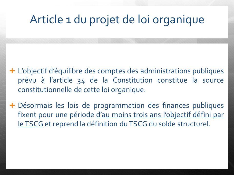 Article 1 du projet de loi organique Lobjectif déquilibre des comptes des administrations publiques prévu à larticle 34 de la Constitution constitue l