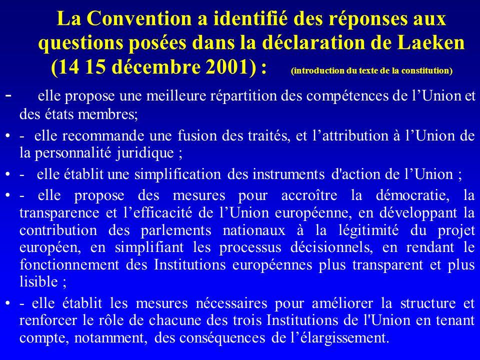 La Convention a identifié des réponses aux questions posées dans la déclaration de Laeken (14 15 décembre 2001) : (introduction du texte de la constitution) - elle propose une meilleure répartition des compétences de lUnion et des états membres; - elle recommande une fusion des traités, et lattribution à lUnion de la personnalité juridique ; - elle établit une simplification des instruments d action de lUnion ; - elle propose des mesures pour accroître la démocratie, la transparence et lefficacité de lUnion européenne, en développant la contribution des parlements nationaux à la légitimité du projet européen, en simplifiant les processus décisionnels, en rendant le fonctionnement des Institutions européennes plus transparent et plus lisible ; - elle établit les mesures nécessaires pour améliorer la structure et renforcer le rôle de chacune des trois Institutions de l Union en tenant compte, notamment, des conséquences de lélargissement.