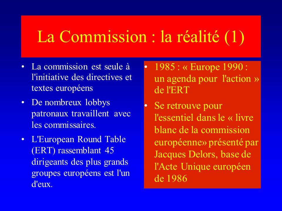 La Commission : la réalité (1) La commission est seule à l initiative des directives et textes européens De nombreux lobbys patronaux travaillent avec les commissaires.