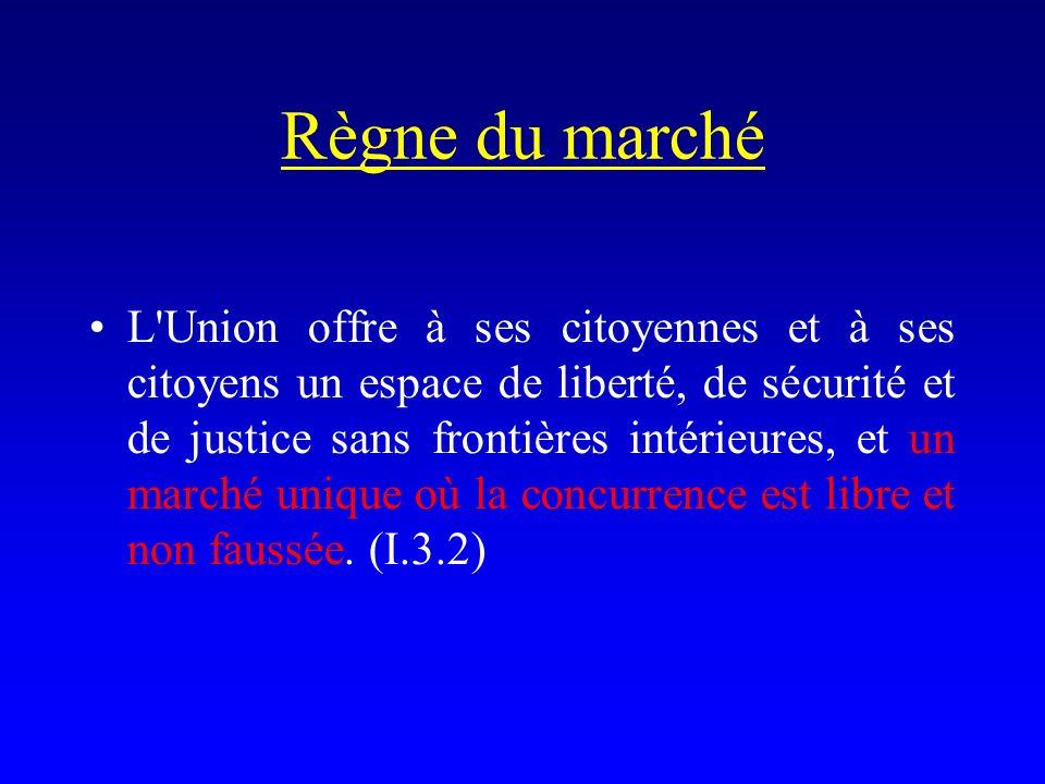 Règne du marché L Union offre à ses citoyennes et à ses citoyens un espace de liberté, de sécurité et de justice sans frontières intérieures, et un marché unique où la concurrence est libre et non faussée.