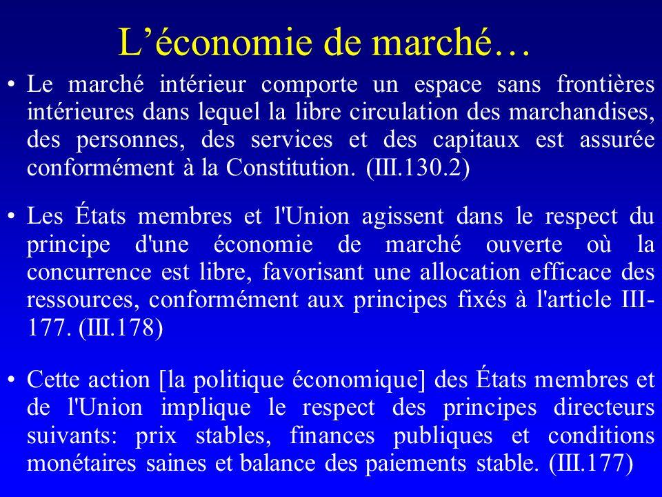 Léconomie de marché… Le marché intérieur comporte un espace sans frontières intérieures dans lequel la libre circulation des marchandises, des personnes, des services et des capitaux est assurée conformément à la Constitution.