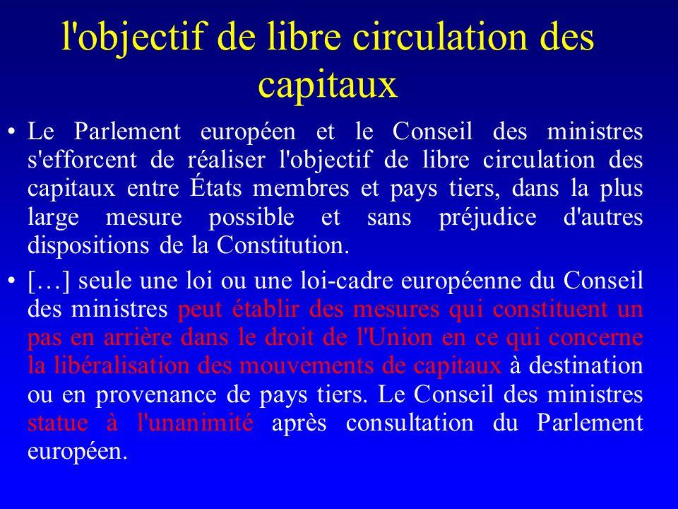 l objectif de libre circulation des capitaux Le Parlement européen et le Conseil des ministres s efforcent de réaliser l objectif de libre circulation des capitaux entre États membres et pays tiers, dans la plus large mesure possible et sans préjudice d autres dispositions de la Constitution.