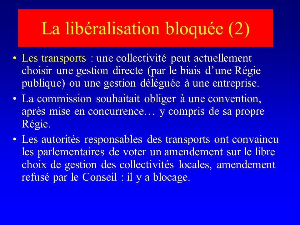La libéralisation bloquée (2) Les transports : une collectivité peut actuellement choisir une gestion directe (par le biais dune Régie publique) ou une gestion déléguée à une entreprise.