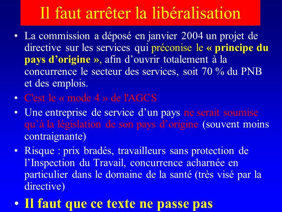 Il faut arrêter la libéralisation La commission a déposé en janvier 2004 un projet de directive sur les services qui préconise le « principe du pays dorigine », afin douvrir totalement à la concurrence le secteur des services, soit 70 % du PNB et des emplois.