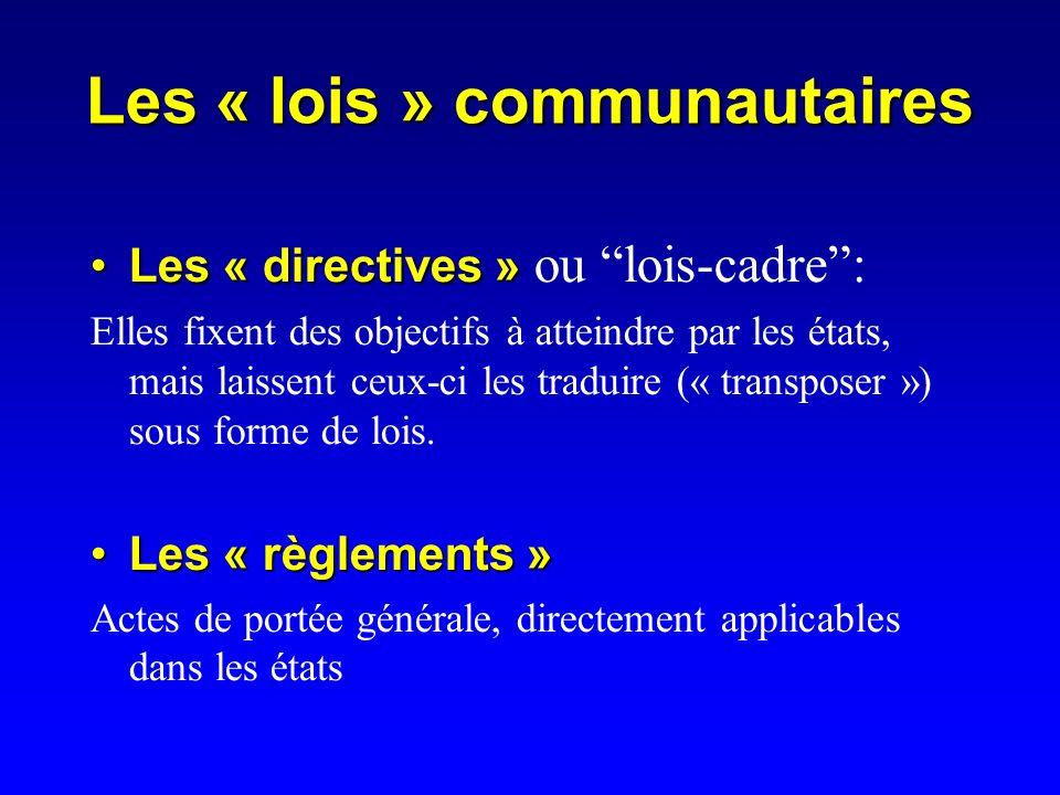 Les « lois » communautaires Les « directives »Les « directives » ou lois-cadre: Elles fixent des objectifs à atteindre par les états, mais laissent ceux-ci les traduire (« transposer ») sous forme de lois.