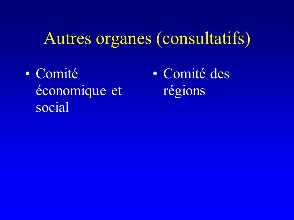 Autres organes (consultatifs) Comité économique et social Comité des régions