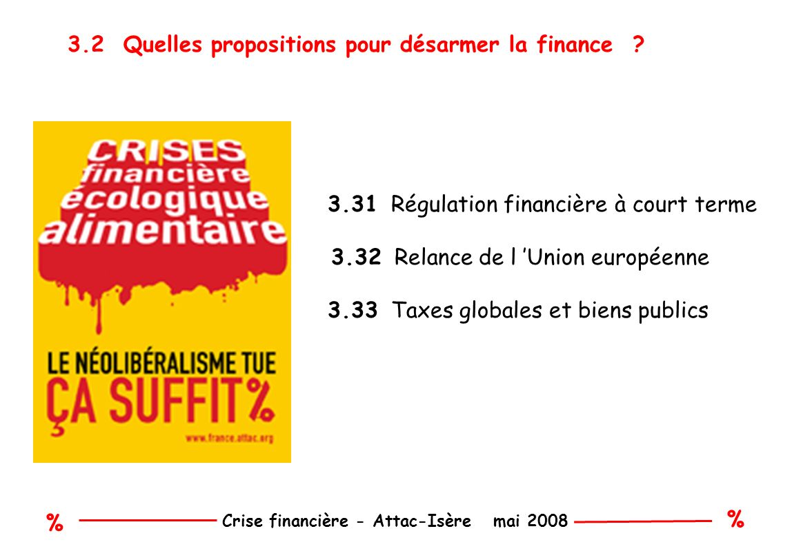 % % Crise financière - Attac-Isère mai 2008 3.2 Quelles propositions pour désarmer la finance .