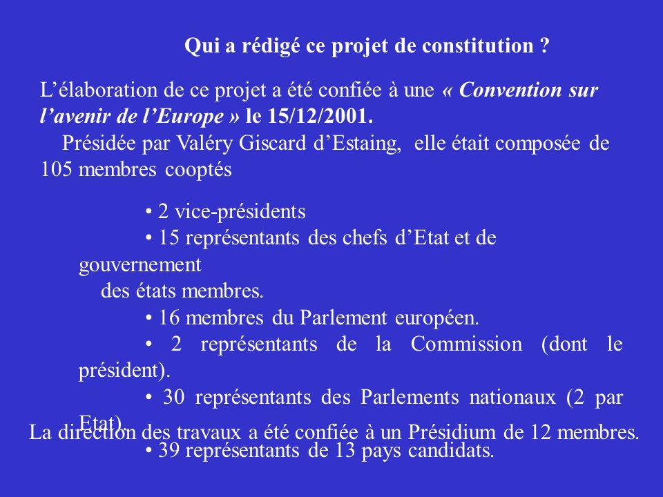 2 vice-présidents 15 représentants des chefs dEtat et de gouvernement des états membres. 16 membres du Parlement européen. 2 représentants de la Commi