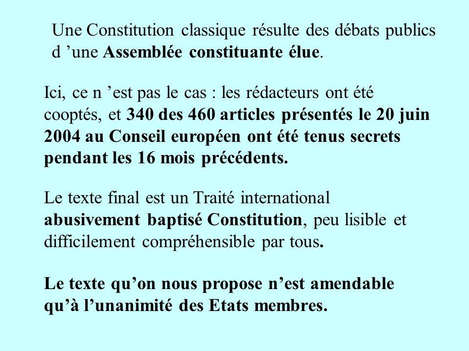 Ici, ce n est pas le cas : les rédacteurs ont été cooptés, et 340 des 460 articles présentés le 20 juin 2004 au Conseil européen ont été tenus secrets