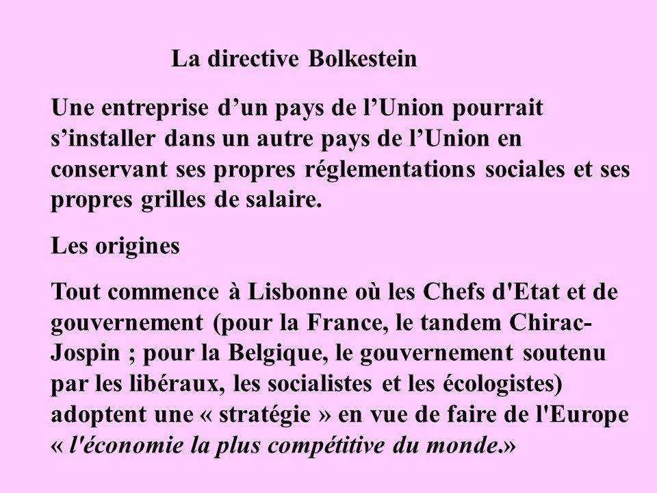 La directive Bolkestein Une entreprise dun pays de lUnion pourrait sinstaller dans un autre pays de lUnion en conservant ses propres réglementations s
