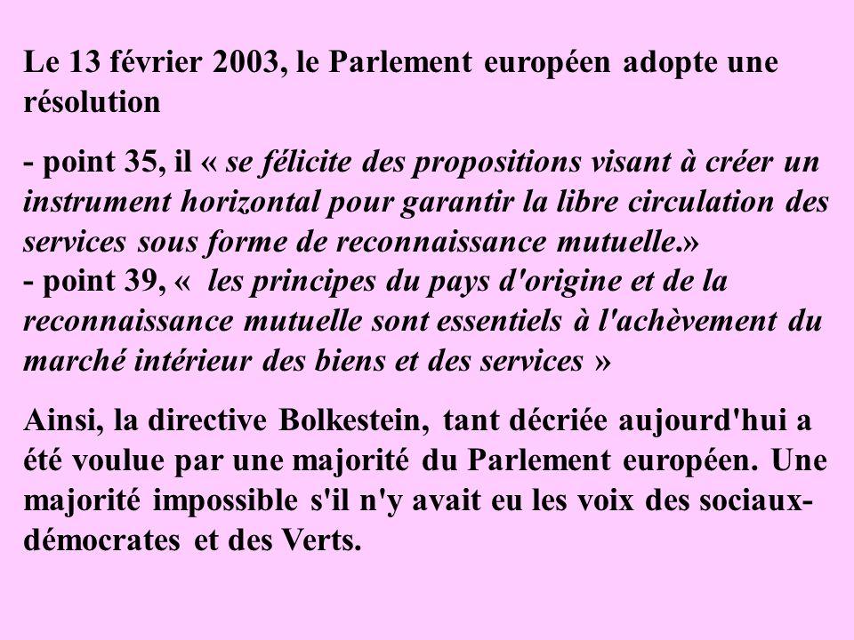 Le 13 février 2003, le Parlement européen adopte une résolution - point 35, il « se félicite des propositions visant à créer un instrument horizontal