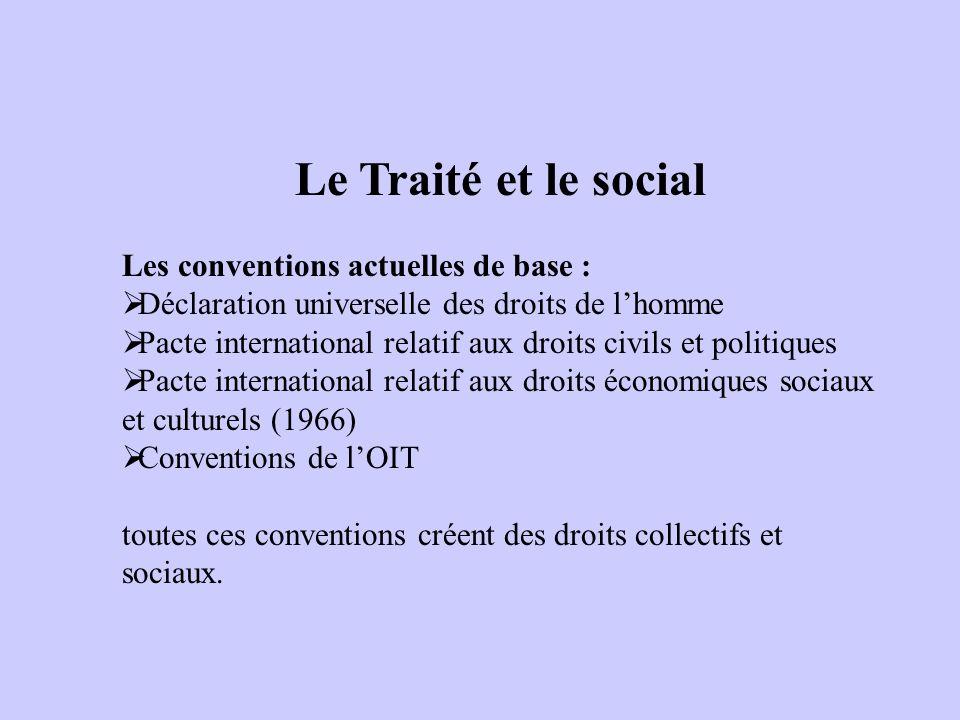 Le Traité et le social Les conventions actuelles de base : Déclaration universelle des droits de lhomme Pacte international relatif aux droits civils