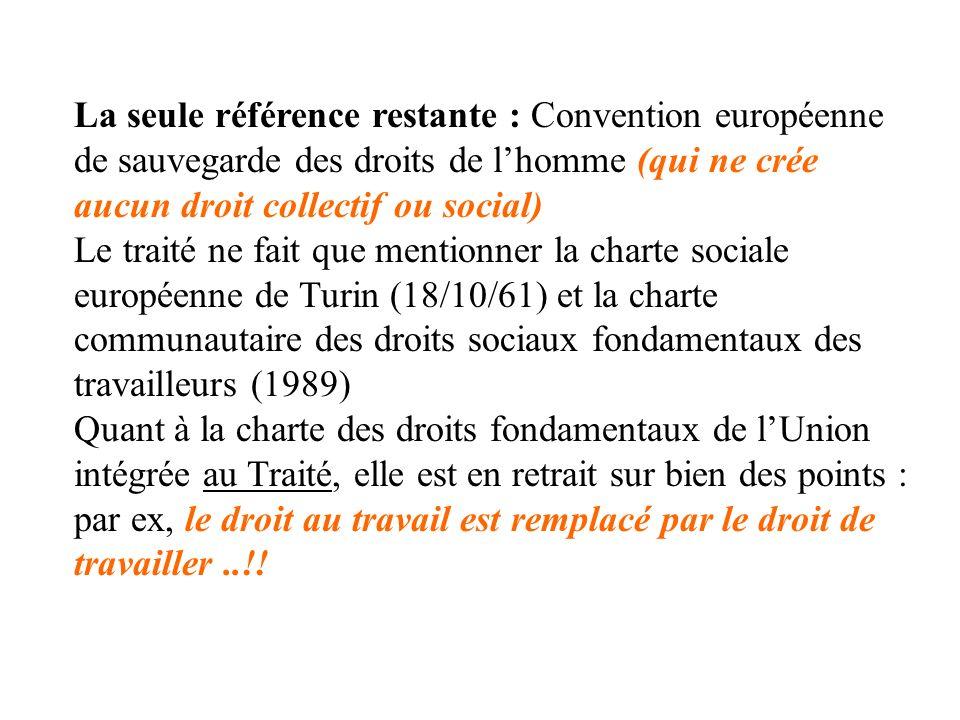 La seule référence restante : Convention européenne de sauvegarde des droits de lhomme (qui ne crée aucun droit collectif ou social) Le traité ne fait