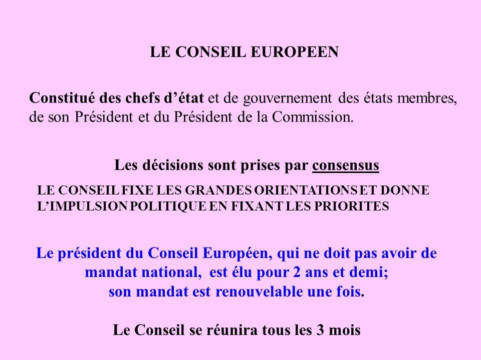 LE CONSEIL EUROPEEN Constitué des chefs détat et de gouvernement des états membres, de son Président et du Président de la Commission. Les décisions s